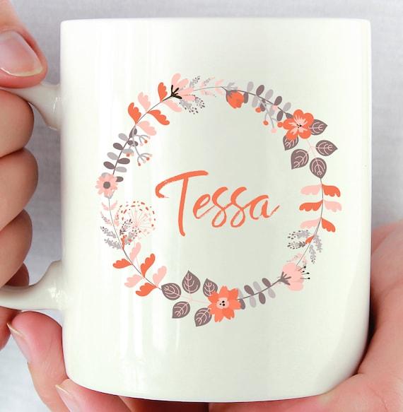 Flower Wreath Mug ~ Personalized ~ Custom Name Mug ~ Floral Mug ~ Bridesmaid Gift ~ Christmas Gift ~ Birthday Gift ~ Personalized Name