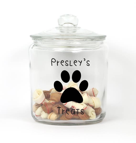Personalized Dog Treat Jar - Choose Your Colors - Paw - Pet Treat Storage - Pet Treat Jar ~ Paw Print Treat Jar ~ Container