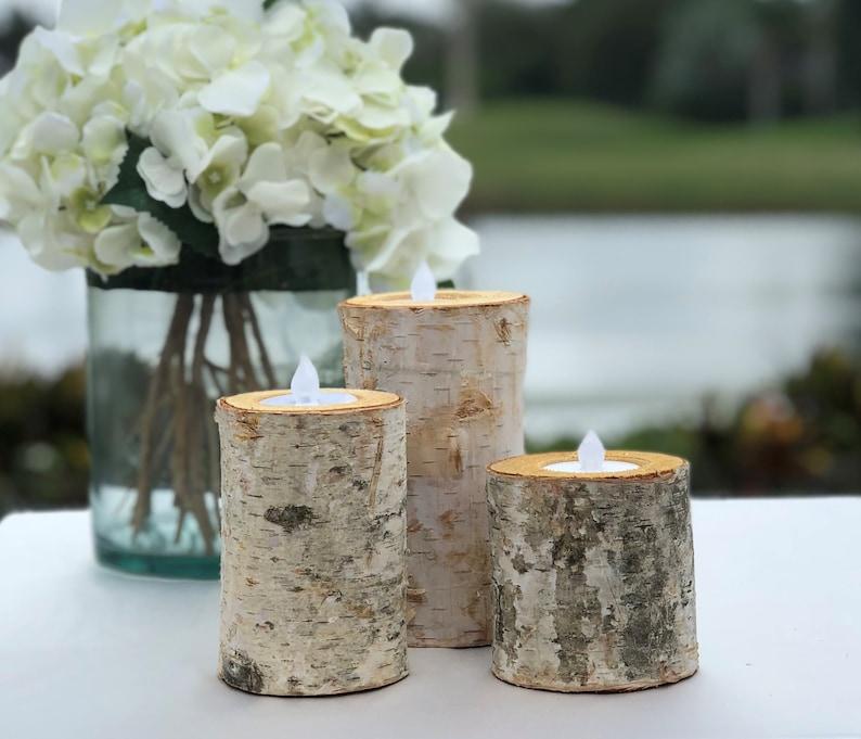 Real Birch Log Candle Holder Set image 0