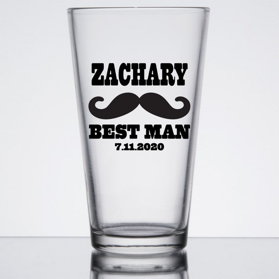 Personalized Pint Glasses ~ Glass or Plastic ~ Bachelor Party ~ Wedding Gift ~ Toasting ~ Best Man Groomsmen Usher Father Glasses ~ 16 oz