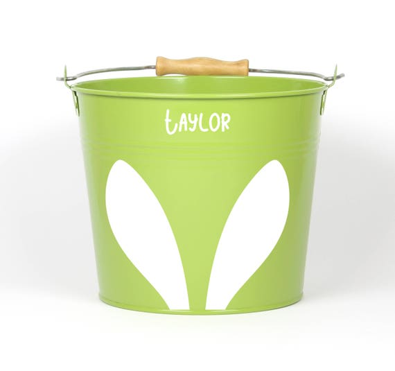 Personalized Big Ear Bunny Easter Pail - Choose The Color - Easter Basket Easter Bucket Easter Tin for Girls and Boys