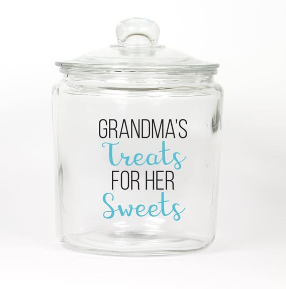 Grandma's Treats for her Sweets Cookie Jar ~ Treat Jar ~ Candy Jar ~ Gift for Mom ~ Grandma ~ Choose the Color ~ Glass Cookie Jar