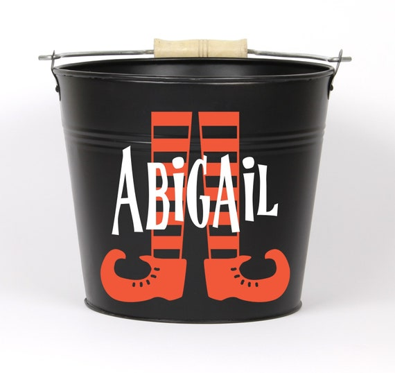 Personalized Halloween Witch Feet Name Pail
