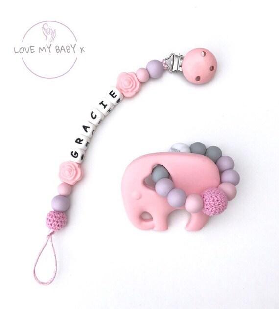 white baby girl pink purple Handmade dummy clip flower lovely gift idea x