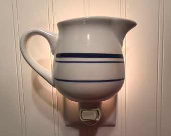 Half cup creamer with blue stripes #39
