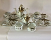 12 pc Antique Japan KUTANI Satsuma Eggshell Porcelain Tea Set Teapot Bamboo