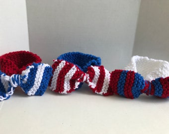 Knitted headband 4th of July headband red white and blue