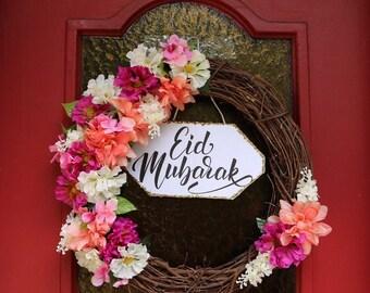 Floral Eid Mubarak Wreath