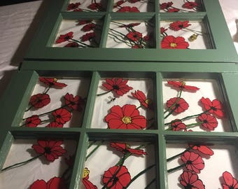 Reverse Glass Painting...Red Poppies
