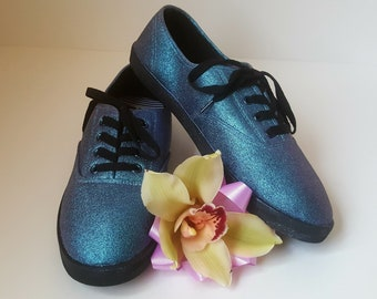 Hand Painted glitter Shoes Size 8