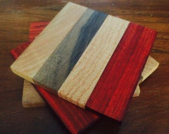 Coasters- Cherry, walnut, oak, and paduk -Set of 4