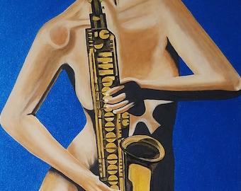 "Original Acrylic 16 x 20 Painting ""Saxophone"" FREE SHIPPING"