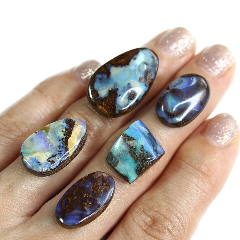 5 pcs Multi color Mixed Shape Australian Boulder Opal loose stone Parcel for Jewellery making 56.7 ct