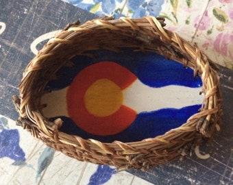 Pine Needle Basket with Colorado Flag