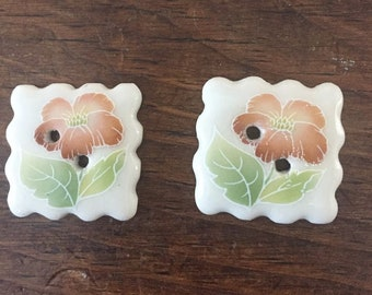Handmade Porcelain buttons with decal