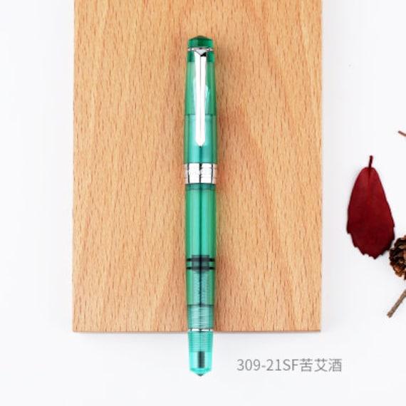 16 Clear Glass F nib PENBBS 309 Piston Filling Fountain Pen