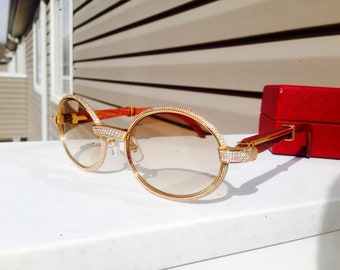 995948dd5ff Iced Out Custom Cartier sunglasses in wood