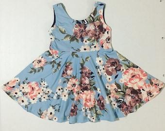 2T Twirly Dress // Light Blue Floral
