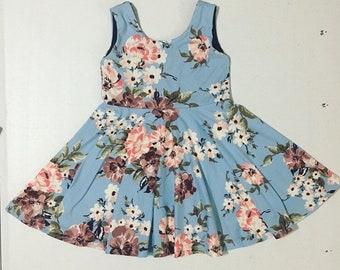 4T Twirly Dress // Light Blue Floral
