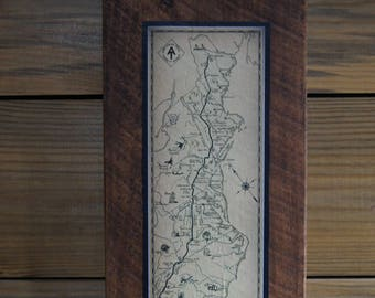 Vintage Appalachian Trail print on Reclaimed Wood Block