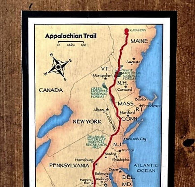 Appalachian Trail In Maine Map.Appalachian Trail Map On Reclaimed Wood Etsy