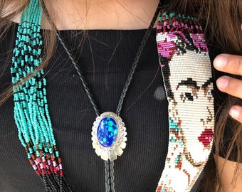 fa9ccf07b6f9 Rare Set: Navajo Inspired Sterling Silver Azurmalachite Bolo Tie with  Matching Earrings