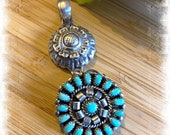Southwestern Style Vintage Sterling Silver Needlepoint Turquoise Flower Cluster Pendant