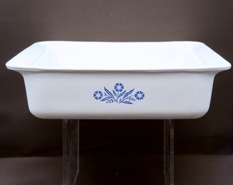 Vintage Corning Ware Cornflower 2 Qt Square Casserole - P-322 - Cake Pan - Brownie Pan