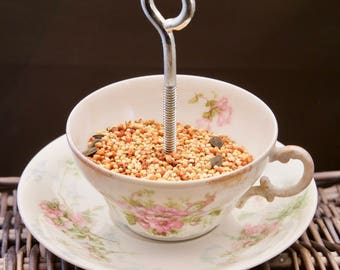 Teacup Hanging Bird Feeder, Succulent Planter-Vintage Pink Flower Haviland and Limoges
