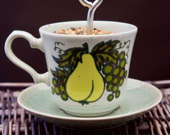 Teacup Hanging Bird Feeder, Succulent Planter-Soft Green Vintage Fruit/Pear/Grapes/Apple/Orange
