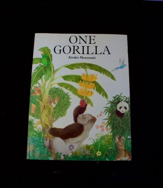 Een gorilla Atsuko Morzumi jonge Reader Preschool tellen boek geïllustreerde Kinder fotoboek 1990 Soft Bound Edition