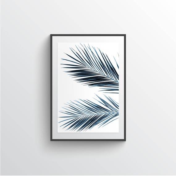 Blue Palm Liść Do Druku Plakat Palm Liście ścienne Art Duże Wydruki Artystyczne Plakaty Digital Download Plakat Fotografia Tropikalna Sztuka