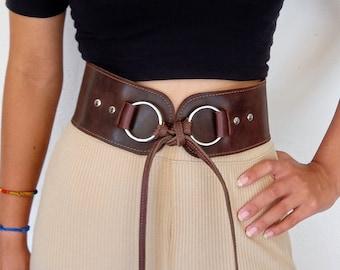 Wide leather belt | Etsy
