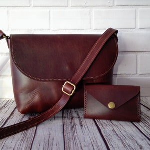 Brown crossbody leather bag  Gift for her Minimalist bag Mother day gift Personalized bag