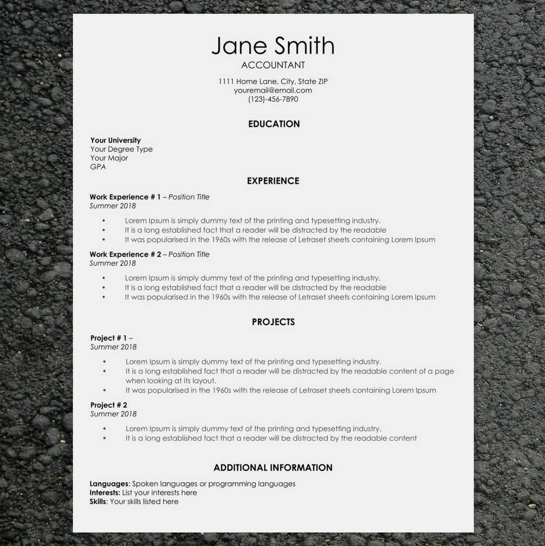 classic resume  cv template word cover letter template easy