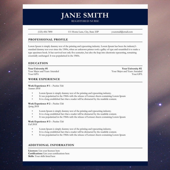 Medical Resume Cv Template Nurse Cover Letter Easy To Edit And Instant Download