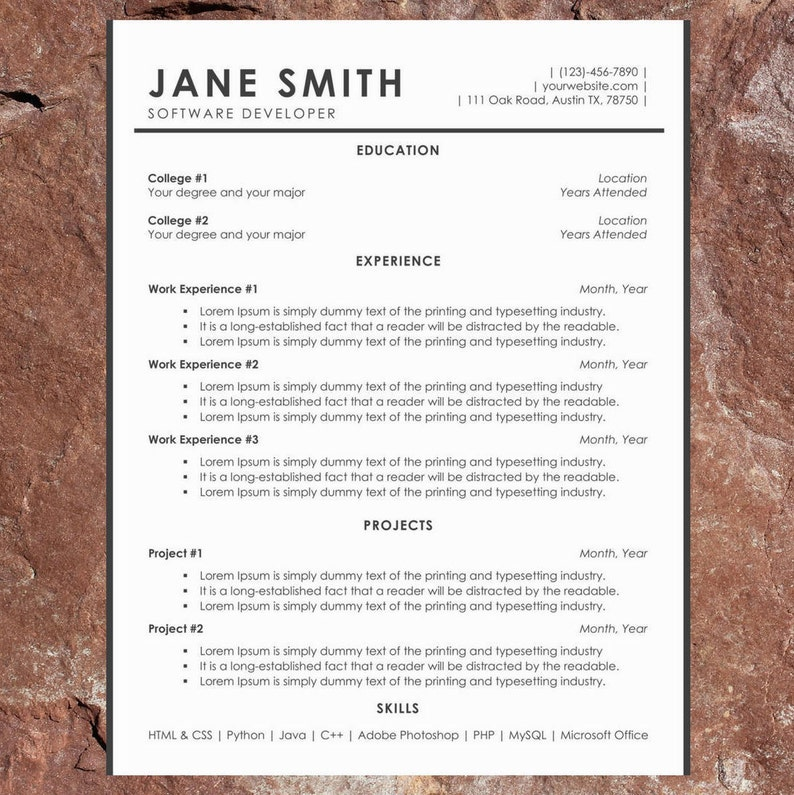 Elegant Resume Template | Professional CV Template for Word and Pages | 1  Page Modern Resume | Cover Letter | Instant Download