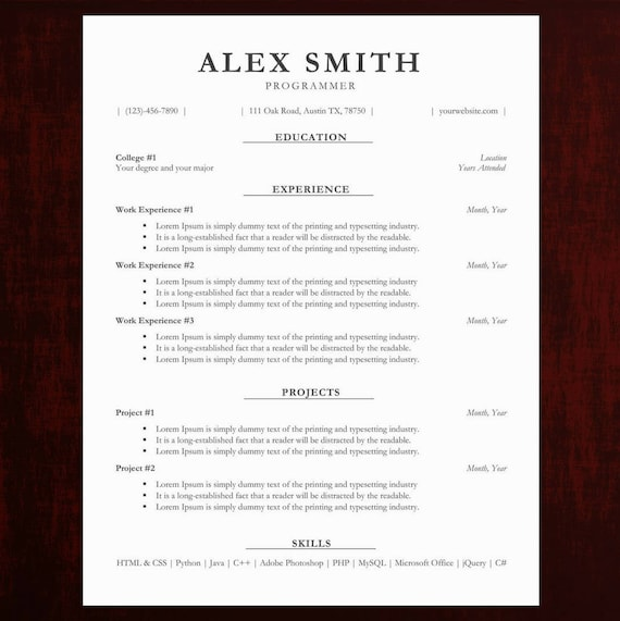 Traditional Resume Cv Template Business Cover Letter Template Easy To Edit And Instant Download