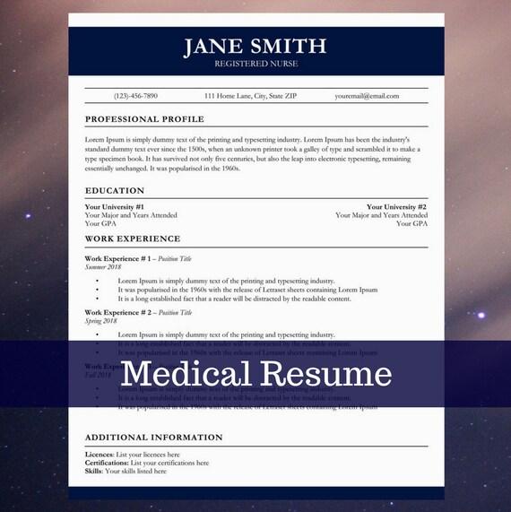 Medical Resume Cv Template Nurse Cover Letter Easy To Edit Etsy