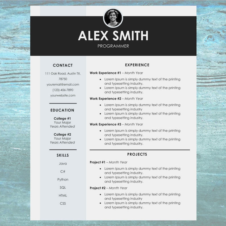 Chic Resume CV Template Modern Cover Letter Design Easy To