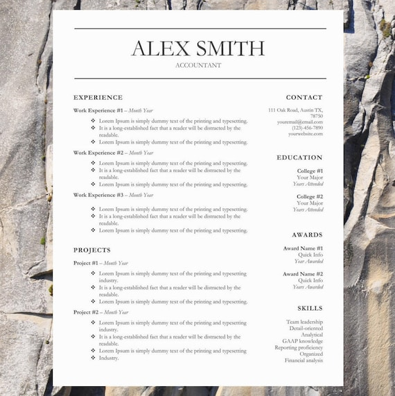 stylish resume template word resume template cv template etsy