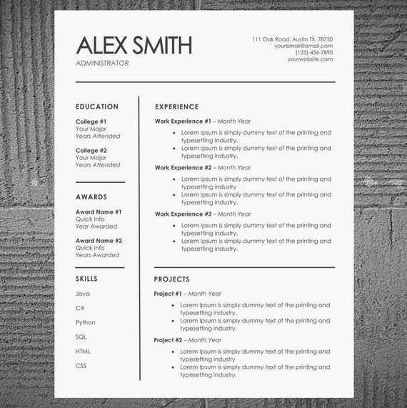 minimal resume and cv template for word pages professional etsy