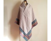 Mystical Wool and Mohair Poncho with Shawl Collar and Rainbow Striped Edges. Bias Cut, Free Size One Size. Beige Oatmeal. OOAK.