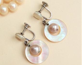 Mother Of Pearl Shell Vintage Dangle Earrings