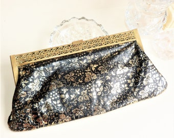 Genuine Vintage Clutch Purse In Black and Gold