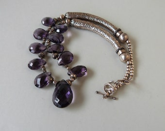 Amethyst and Sterling Necklace Unique Boho Hippie Healing Love
