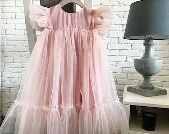 b182698b7686 Dusty rose pink baby girl 1st birthday outfit