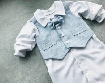 43f76cbf5b7 Baby boy baptism outfit linen