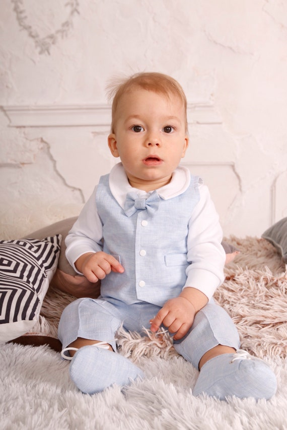 Baby boy baptism outfit linen baby boy blessing baby boy baptism outfit set hat shoes linen white christening outfit baby boy linen blue