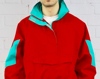c4d68237a2e0 Mens Womens Vintage 80s 90s Eddie Bauer Pullover Color Block Neon Red  Turquoise Gortex Jacket Fresh Prince Saved By The Bell